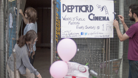 The group of volunteers are busy transforming a derelict building into a cinema Pic: Deptford Cinema