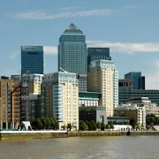 London, Canary Wharf from Thames