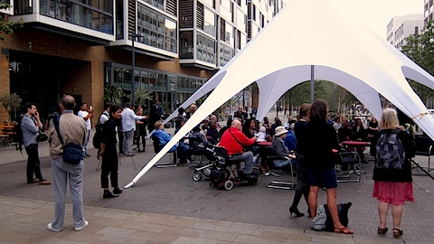 The crowd gathered in Dalston Square for the launch of Hackney Circle. Pic: Jessica Chia