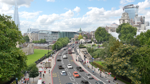 The Cycle Superhighway is planned to go from Stratford to Aldgate. Pic: TfL