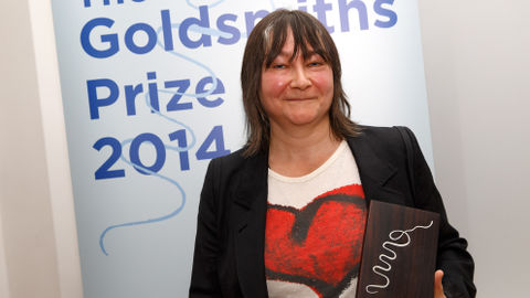 Ali Smith collects the Goldsmiths Prize. Pic: Ben Queenborough
