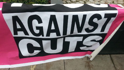 Banner at St. Mungo's Victory Rally. Pic: Jacqui Agate