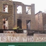 Derelict houses and graffiti on Dalston Lane. Pic: Bill Parry-Davies