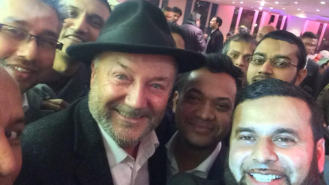 George Galloway, Cllr Oliur Rahman & Cllr Mahbub Alam at Waterlily event. Pic: Cllr Mahbub Alam