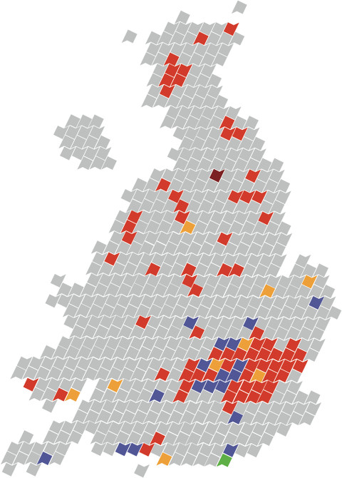 Map of majority renter constituencies in UK. Pic: Generation Rent