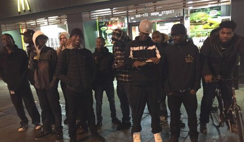Young people waiting for the rap battle outside McDonalds on Lewisham High Street. Pic: @Novelist