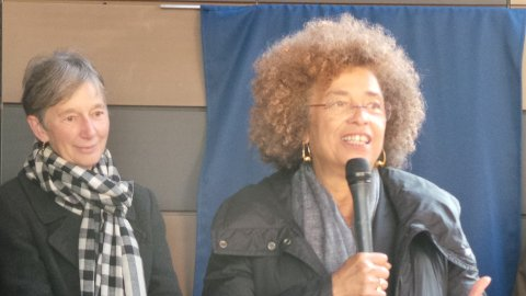 Professor Catherine Hall and Angela Davis. Pic: Kate Ng