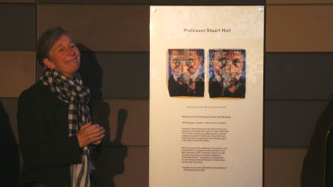 Professor Catherine Hall, widow of the late Professor Staurt Hall, unveils the plaque. Pic: Kate Ng