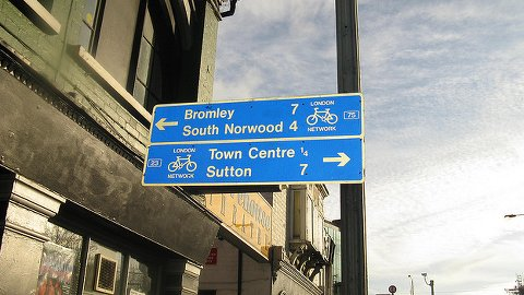 Signpost for bicycle lanes. Pic: Matthew Black
