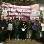Protestors outside Tower Hamlets council building. Pic: Gabriela Sperling