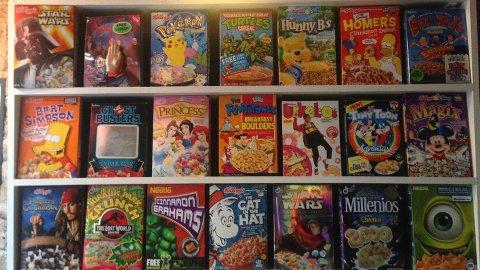 Collector's cereals at  Cereal Killer café. Pic: Alice Harrold.