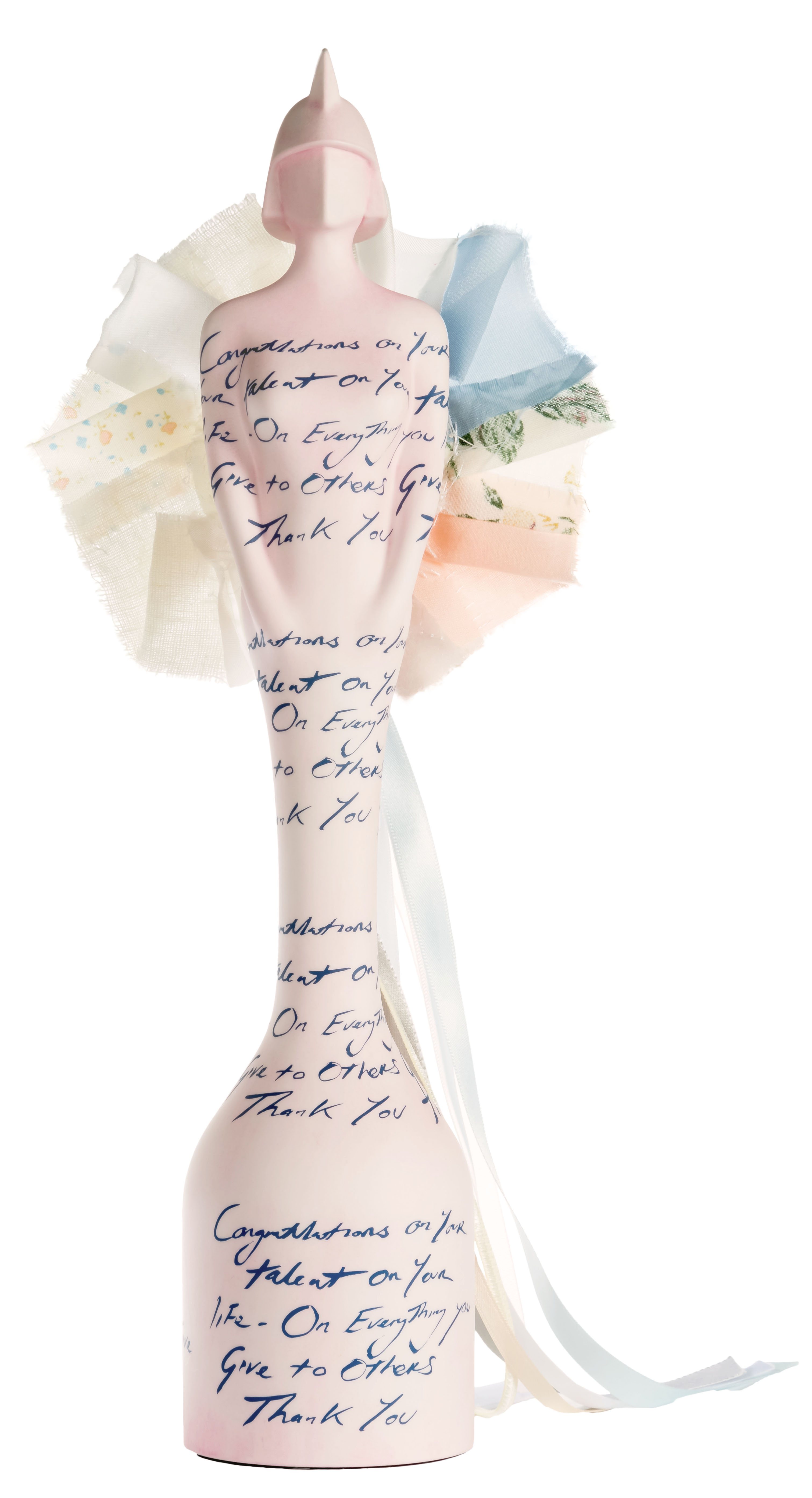 BRIT Award Trophy 2015 designed by Tracey Emin. Pic: DawBell