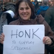 Woman protesting against academy status for Sedgehill. Pic: Alex Taylor.