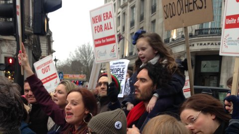 Russel Brand and Lindsey Garrett at the New Era protest. Pic: James Benge