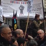 Ex-mayor Lutfur Rahman speaking to crowds outside Shoreditch Church. Pic: Hannah Calder