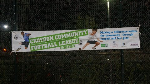 The Croydon Community Football League banner. Pic: Marthe Holkestad