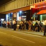Queues outside a club. Pic: *Sax