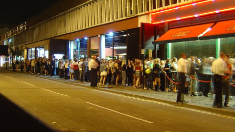 Queues outside a club. Pic: *Sax