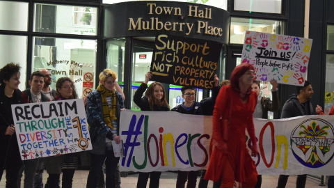 Protesters outside of Tower Hamlets town hall Pic: Toby Roddham