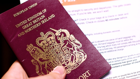 UK passport and boarding pass. Pic: John O'Nolan