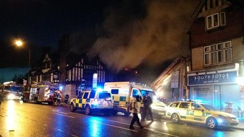 Around 60 firemen were called to the pub to control the fire. Pic: Eden Walsh