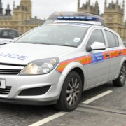 The defendant smashed a police car with a claw hammer. Pic: Met Police