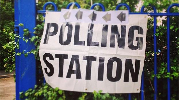 Polling station banner