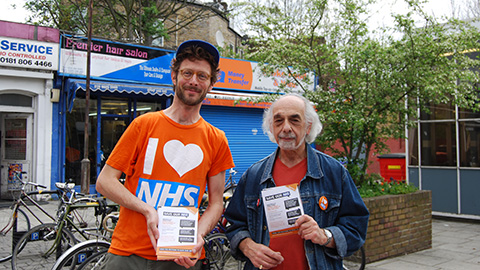 38 Degrees members collecting petition signatures, Stoke Newington