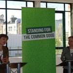 Green Party leader Natalie Bennett and MP Caroline Lucas speaking at the 2015 Green Party Manifesto Launch. Image: Muna Fadhil