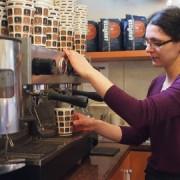 Elisandra Zanfra making coffee in Cafe Basmaccino. Pic: Anna Mellin