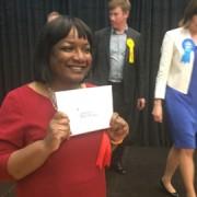 MP Diane Abbott after her acceptance speech. Pic: Joshua Poncil