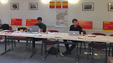 Inside the Labour Party office in Tower Hamlets. Pic: Katharina Schöffmann