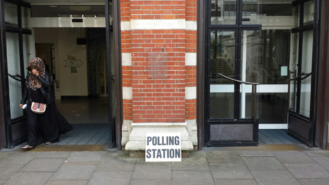 A voter leaves a Central Croydon polling station. Pic: Oliver Imhof