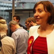 Vicky Foxcroft speaks to party supporters after securing the Labour seat for Lewisham Deptford. Pic: Anna Mellin