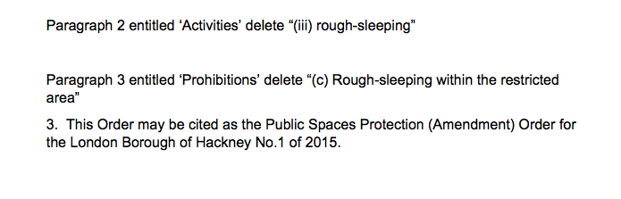 The amendments made removes references to 'rough sleepers' in the PSPO. Pic: Screen grab Hackney Council