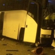 Coach crash choas in the early hours Pic: Surrey Police's Roads Policing Unit