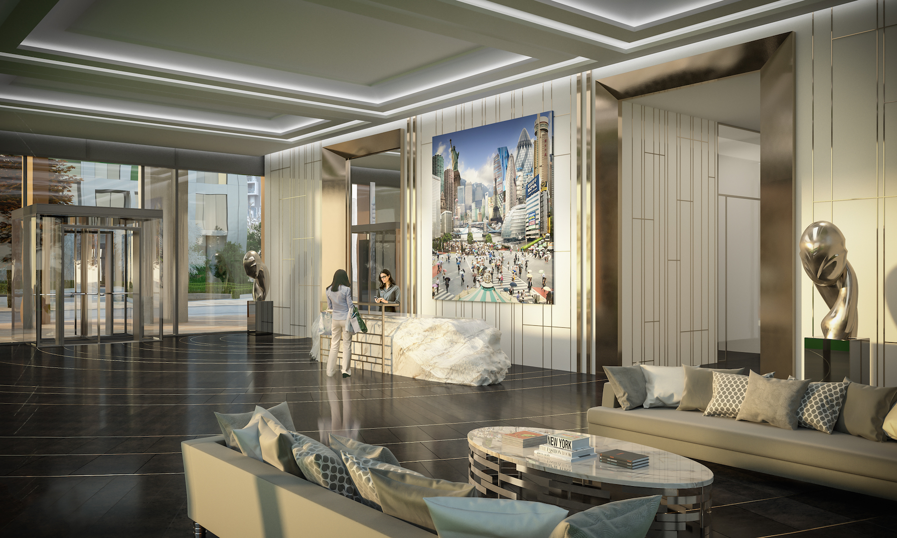 Artist's concept of Maine Tower lobby Pic: Galliard Homes