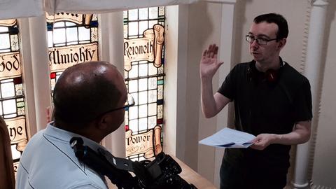 Moran directing on the set of Ghosting Pic: James Moran
