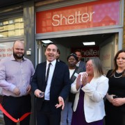 Pic: Councillor Phillip Glanvile, Shelter CEO Campbell Robb, Charmaine Young CEO Berkeley Homes Foundation and Connie Cullen opening the Shelter's new advice centre in Hackney. Credit: Shelter