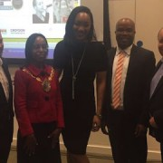 Pic: Bianca Miller (centre) at the launch of Croydon's Black History Month. Credit: Bianca Miller