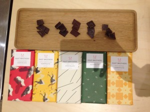 The five different chocolates. Pic: Claudia Decarli.