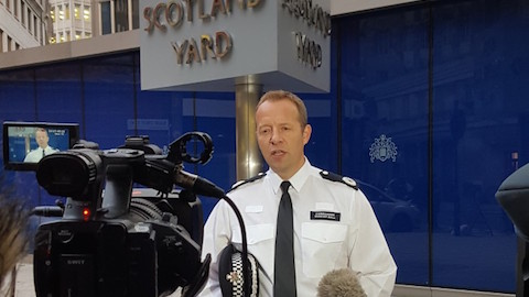Duncan Ball gave a statement outside Scotland Yard this afternoon. Credit: Met Police.