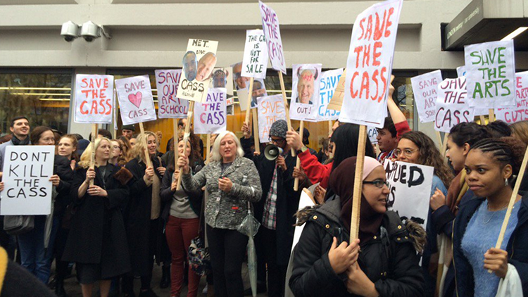 Students protesting outside the Cass building on Sunday Pic: Maggie Learmonth