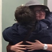 Riddlesdown pupils return to hugs Pic: Alli Shultes