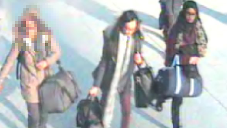 Bethnal Green Academy students captured on airport CCTV. Pic Met Police
