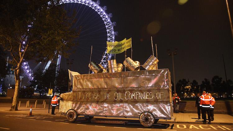 Sokari Douglas Camp's bus sculpture by the Shell Building, London Pic Kristian Buus