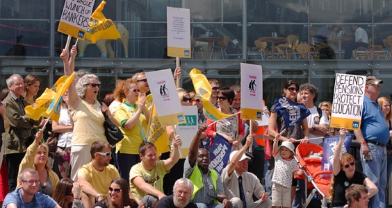 School staff protest over cuts while headteachers receive wage hikes. Pic Roger Blackwell