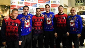 Palace stars in their Christmas jumpers Pic Crystal Palace FC Twitter