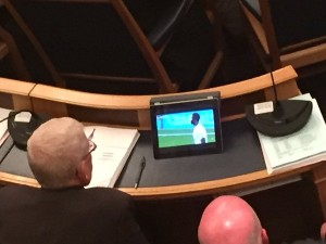 Croydon councillors watch football during meeting