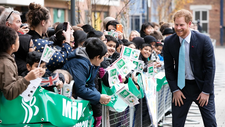 Prince Harry meets pupils from Virginia Primary School in Tower Hamlets Pic: Kois Miah